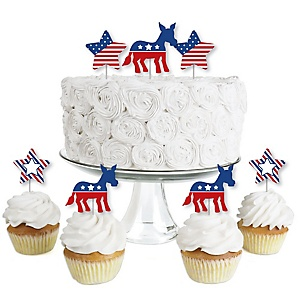 Election (D) - Dessert Cupcake Toppers - Political Party Clear Treat Picks - Set of 24