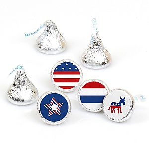 Election (D) - Round Candy Labels Political Party Favors - Fits Hershey Kisses - 108 ct