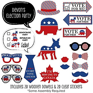 Election - Political Party - Photo Booth Prop Kit - 20 Count