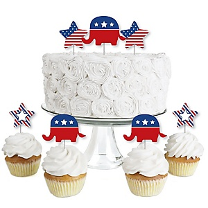Election (R) - Dessert Cupcake Toppers - Political Party Clear Treat Picks - Set of 24