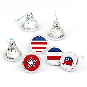 Election (R) - Round Candy Labels Political Party Favors - Fits Hershey Kisses - 108 ct