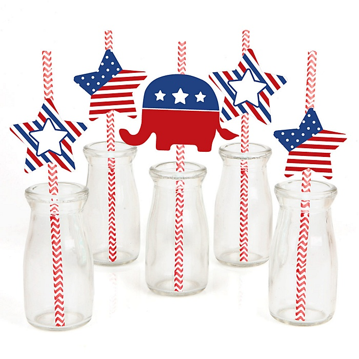 Election (R) - Political Party - Paper Straw Decor - Election Party Striped Decorative Straws - Set of 24