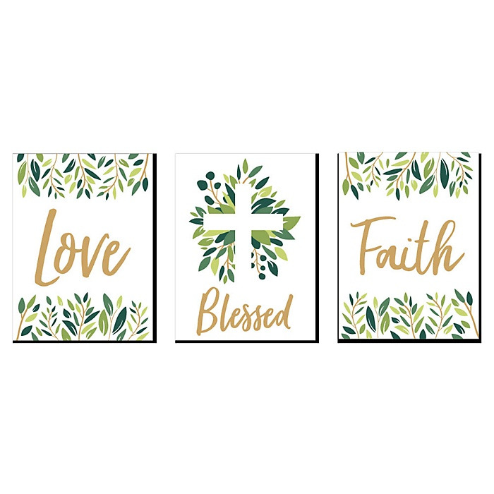 "Elegant Cross - Religious Nursery Wall Art and Kids Room Décor - 7.5"" x 10"" - Set of 3 Prints"