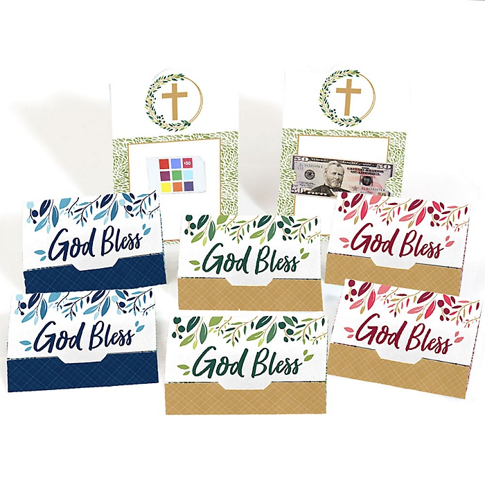 Elegant Cross - Assorted Religious Party Money And Gift Card Holders - Set of 8