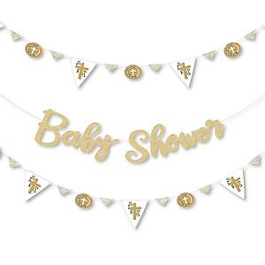 Elegant Cross - Religious Baby Shower Letter Banner Decoration - 36 Banner Cutouts and No-Mess Real Gold Glitter Baby Shower Banner Letters