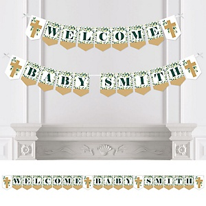 Elegant Cross - Personalized Religious Party Bunting Banner and Decorations