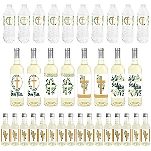 Elegant Cross - Mini Wine Bottle Labels, Wine Bottle Labels and Water Bottle Labels - Religious Party Decorations - Beverage Bar Kit - 34 Pieces