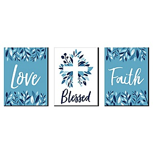 Blue Elegant Cross - Nursery Wall Art, Kids Room Decor and Religious Home Decorations - 7.5 x 10 inches - Set of 3 Prints