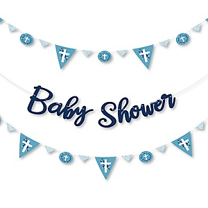 Blue Elegant Cross - Religious Baby Shower Letter Banner Decoration - 36 Banner Cutouts and Baby Shower Banner Letters