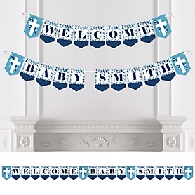Blue Elegant Cross - Personalized Boy Religious Party Bunting Banner and Decorations