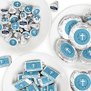 Blue Elegant Cross - Mini Candy Bar Wrappers, Round Candy Stickers and Circle Stickers - Boy Religious Party Candy Favor Sticker Kit - 304 Pieces