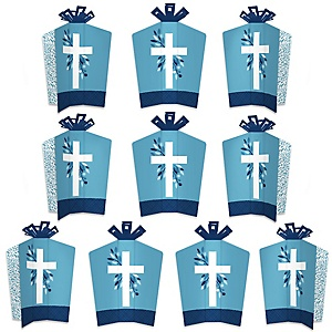 Blue Elegant Cross - Table Decorations - Boy Religious Party Fold and Flare Centerpieces - 10 Count