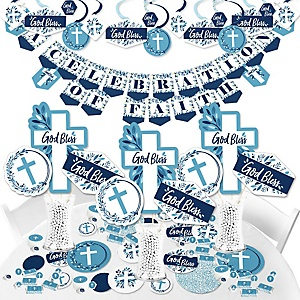 Blue Elegant Cross - Boy Religious Party Supplies - Banner Decoration Kit - Fundle Bundle