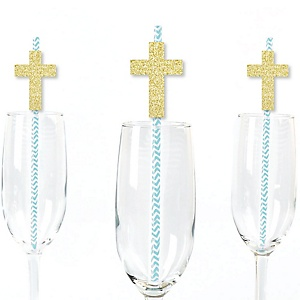 Gold Glitter Blue Elegant Cross Party Straws - No-Mess Real Gold Glitter Cut-Outs and Decorative Boy Religious Party Paper Straws - Set of 24