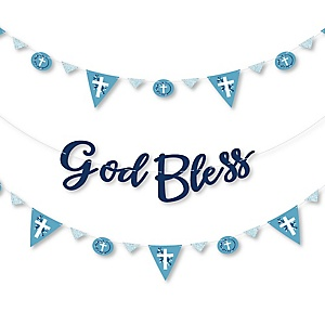 Blue Elegant Cross - Boy Religious Party Letter Banner Decoration - 36 Banner Cutouts and God Bless Banner Letters