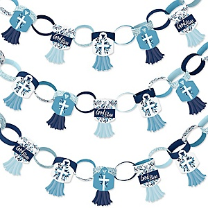 Blue Elegant Cross - 90 Chain Links and 30 Paper Tassels Decoration Kit - Boy Religious Party Paper Chains Garland - 21 feet