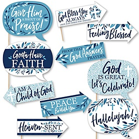 Funny Blue Elegant Cross - Boy Religious Party 10 Piece Photo Booth Props Kit
