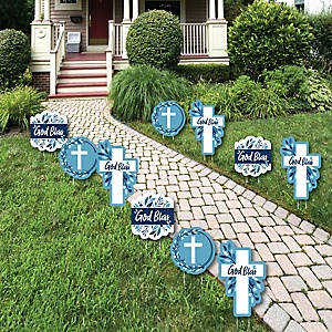 Blue Elegant Cross - Lawn Decorations - Outdoor Boy Religious Party Yard Decorations - 10 Piece