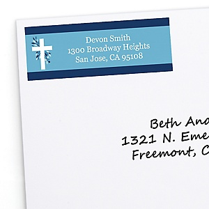 Blue Elegant Cross - Personalized Boy Religious Party Return Address Labels - 30 ct