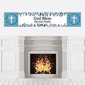 Blue Elegant Cross - Personalized Boy Religious Party Banner