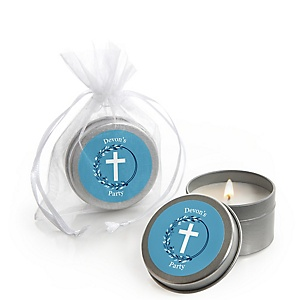Blue Elegant Cross - Personalized Boy Religious Party Candle Tin Favors - Set of 12