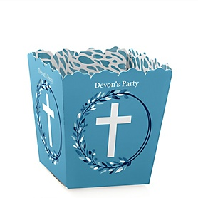 Blue Elegant Cross - Party Mini Favor Boxes - Personalized Boy Religious Party Treat Candy Boxes - Set of 12