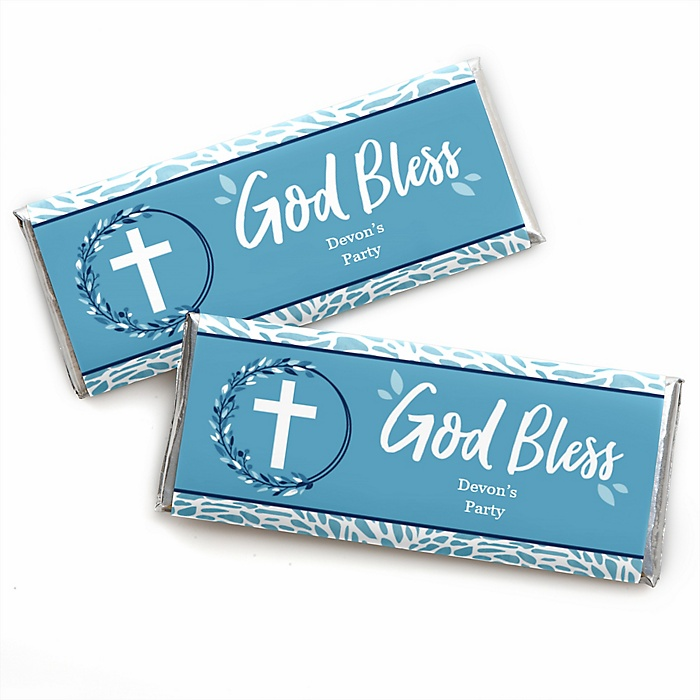 Blue Elegant Cross - Personalized Candy Bar Wrapper Boy Religious Party Favors - Set of 24