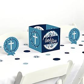 Blue Elegant Cross - Boy Religious Party Centerpiece and Table Decoration Kit
