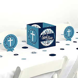 Blue Elegant Cross - Boy Religious Party Centerpiece and Table Decoration Kit