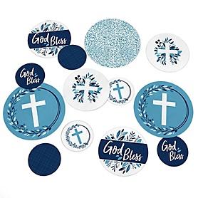 Blue Elegant Cross - Boy Religious Party Table Confetti - 27 ct