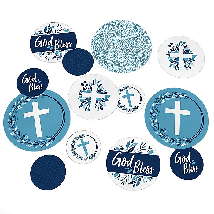 Blue Elegant Cross - Boy Religious Party Table Confetti - 27 ct