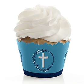 Blue Elegant Cross - Boy Religious Party Decorations - Party Cupcake Wrappers - Set of 12