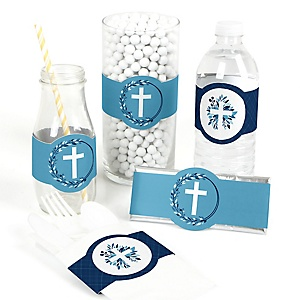 Blue Elegant Cross - DIY Party Supplies - Boy Religious Party DIY Party Favors & Decorations - Set of 15