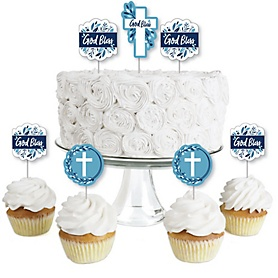 Blue Elegant Cross - Dessert Cupcake Toppers - Boy Religious Party Clear Treat Picks - Set of 24