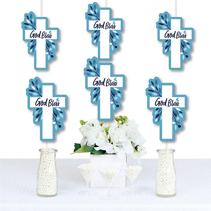 Blue Elegant Cross - Decorations DIY Boy Religious Party Essentials - Set of 20