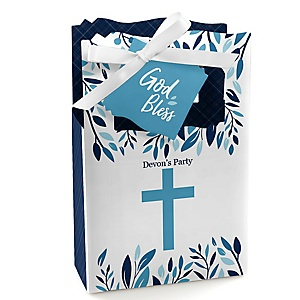 Blue Elegant Cross - Boy Religious Party Favor Boxes - Set of 12