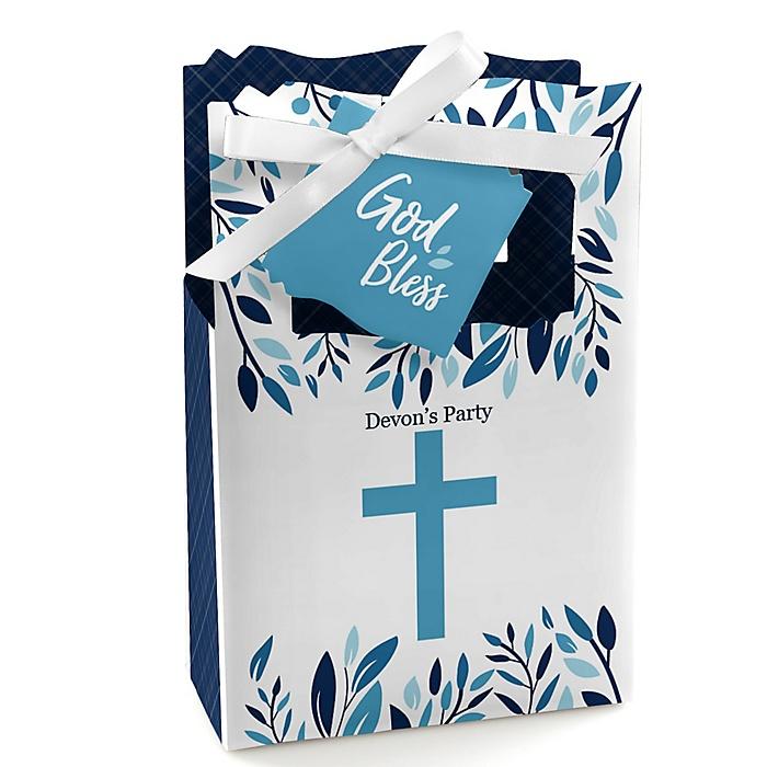 Blue Elegant Cross - Boy Religious Party Favor Boxes - Set of 12