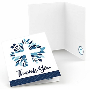 Blue Elegant Cross - Boy Religious Party Thank You Cards - 8 ct