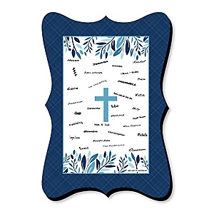 Blue Elegant Cross - Unique Alternative Guest Book - Boy Religious Party Signature Mat