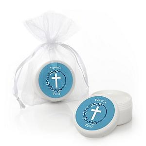 Blue Elegant Cross - Personalized Boy Religious Party Lip Balm Favors - Set of 12