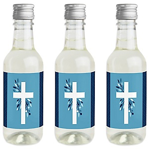 Blue Elegant Cross - Mini Wine and Champagne Bottle Label Stickers - Boy Religious Party Favor Gift for Women and Men - Set of 16