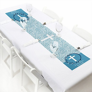 "Blue Elegant Cross - Personalized Petite Boy Religious Party Table Runner - 12"" x 60"""