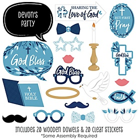 Blue Elegant Cross - 20 Piece Boy Religious Party Photo Booth Props Kit