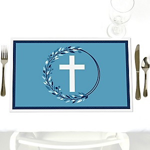 Blue Elegant Cross - Party Table Decorations - Boy Religious Party Placemats - Set of 12