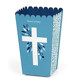 Blue Elegant Cross - Personalized Boy Religious Party Popcorn Favor Treat Boxes - Set of 12