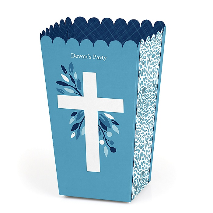 Blue Elegant Cross - Personalized Boy Religious Party Popcorn Favor Treat Boxes - Set of 12