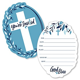 Blue Elegant Cross - Shaped Fill-In Invitations - Boy Religious Party Invitation Cards with Envelopes - Set of 12