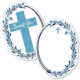 Blue Elegant Cross - Shaped Thank You Cards - Boy Religious Party Thank You Note Cards with Envelopes - Set of 12