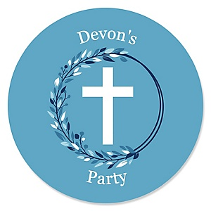 Blue Elegant Cross - Round Personalized Boy Religious Party Sticker Labels - 24 ct