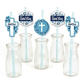 Blue Elegant Cross - Paper Straw Decor - Boy Religious Party Striped Decorative Straws - Set of 24